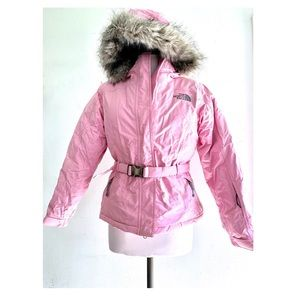 The North Face Pink Goose Down Belted Parka Size S